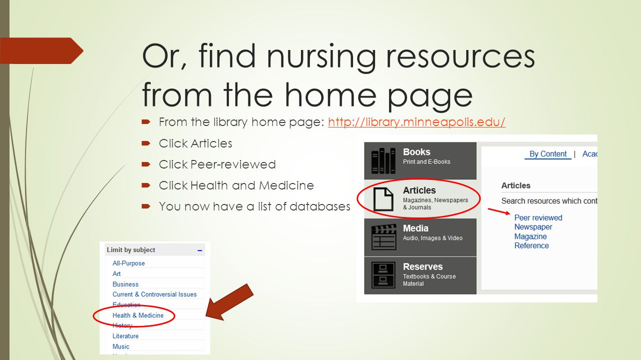 Or, find nursing resources from the home page  From the library home page: http://library.minneapolis.edu/http://library.minneapolis.edu/  Click Articles  Click Peer-reviewed  Click Health and Medicine  You now have a list of databases