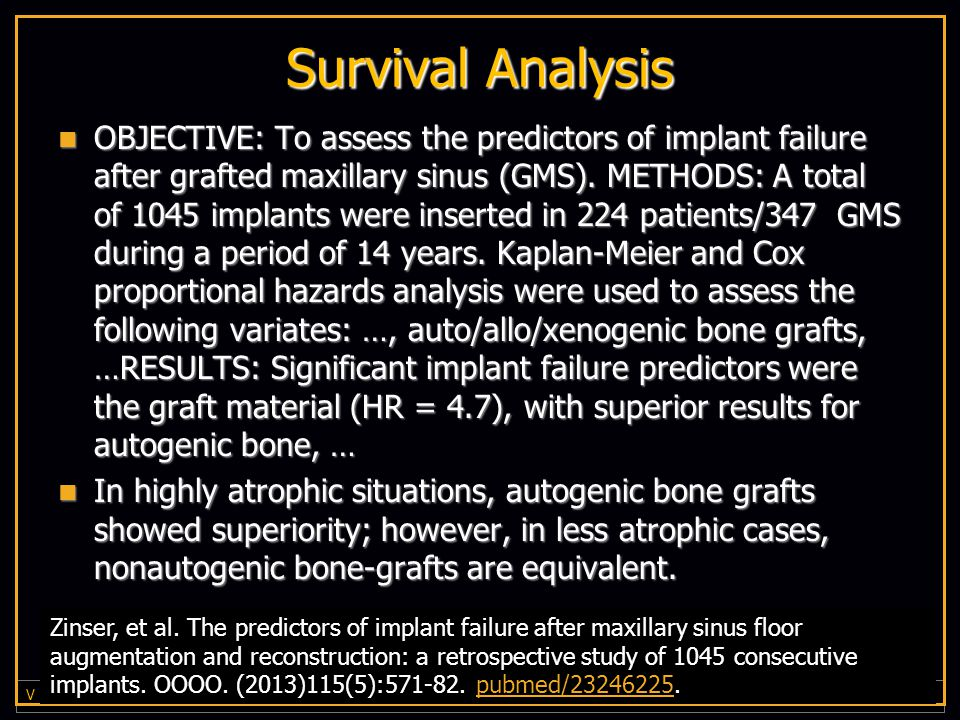 Survival Analysis OBJECTIVE: To assess the predictors of implant failure after grafted maxillary sinus (GMS).