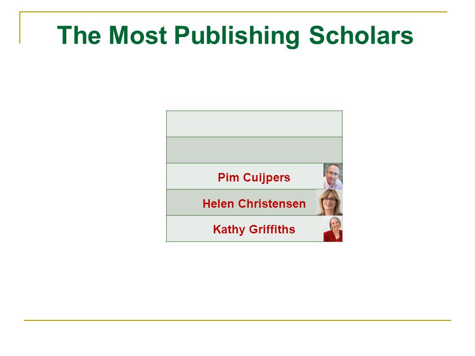 Pim Cuijpers Helen Christensen Kathy Griffiths The Most Publishing Scholars