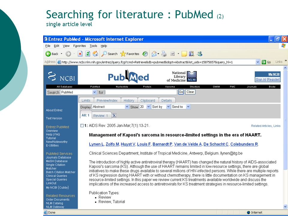 10 Searching for literature : PubMed (2) single article level