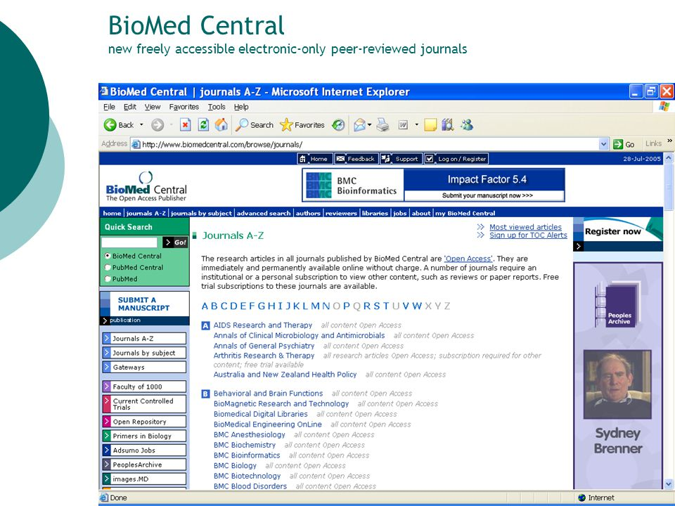 26 BioMed Central new freely accessible electronic-only peer-reviewed journals