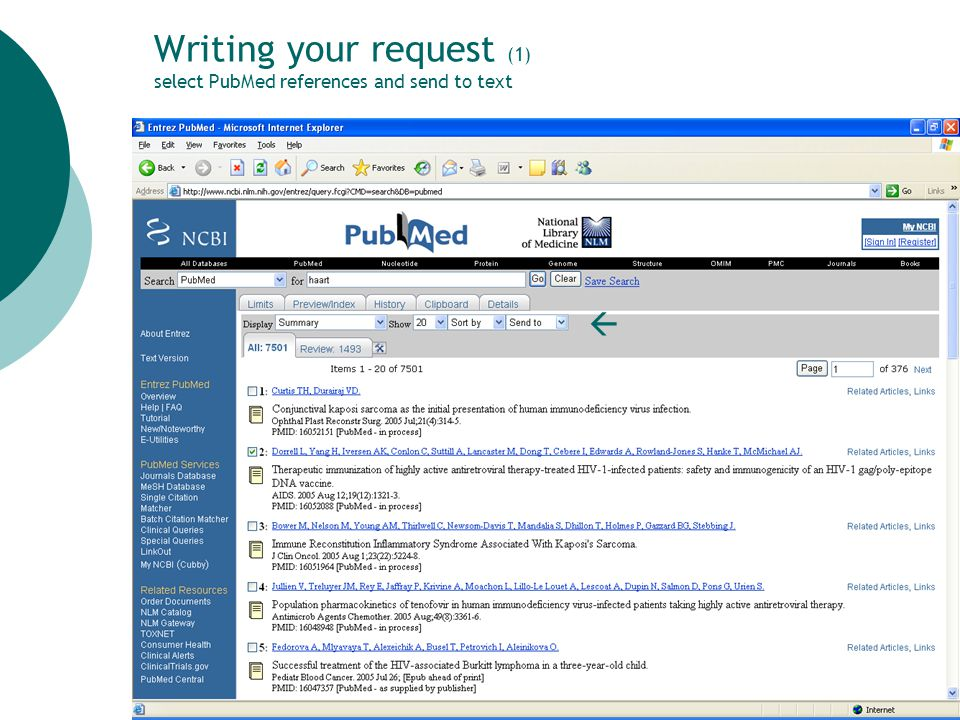 37 Writing your request (1) select PubMed references and send to text 