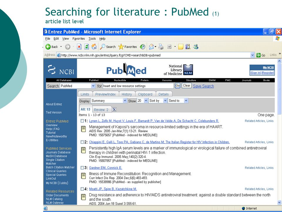 20 Searching for literature: the Internet (6) ITM library links to selected web sites: HIV/AIDS section