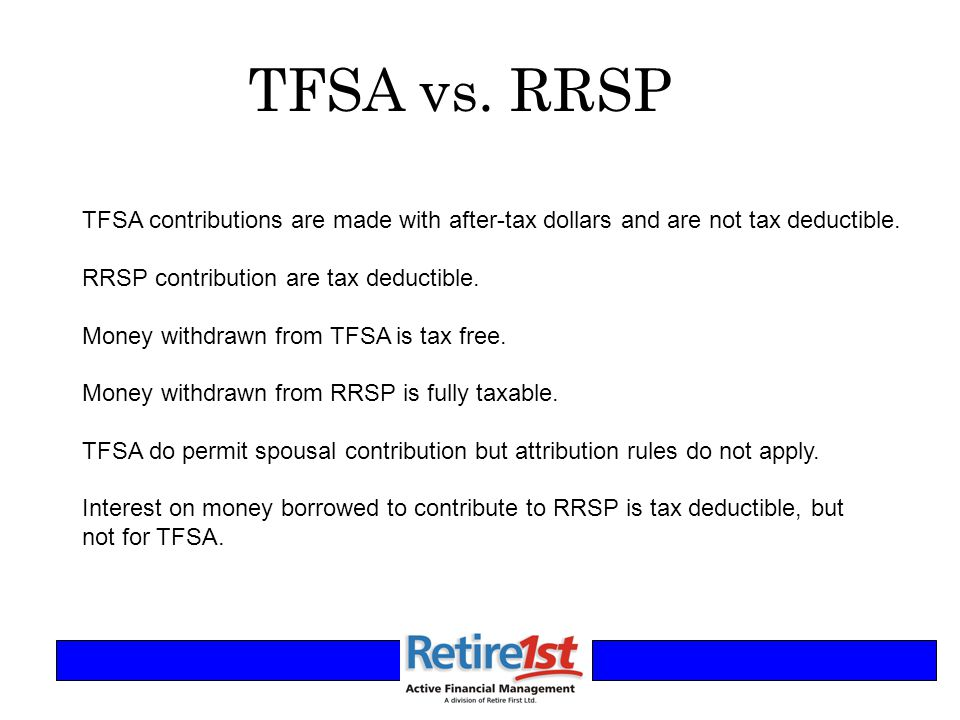 TFSA vs. RRSP TFSA contributions are made with after-tax dollars and are not tax deductible.