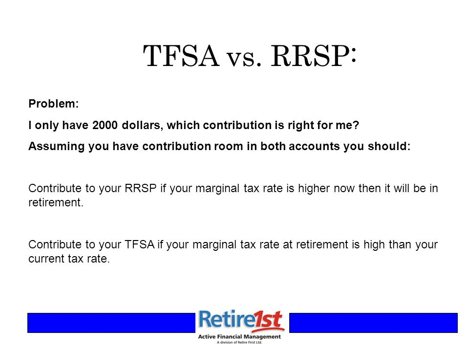 TFSA vs. RRSP: Problem: I only have 2000 dollars, which contribution is right for me.