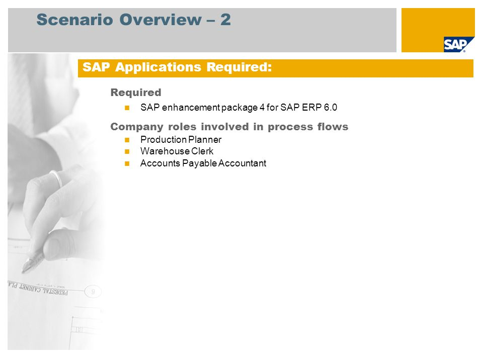 Scenario Overview – 2 Required SAP enhancement package 4 for SAP ERP 6.0 Company roles involved in process flows Production Planner Warehouse Clerk Ac