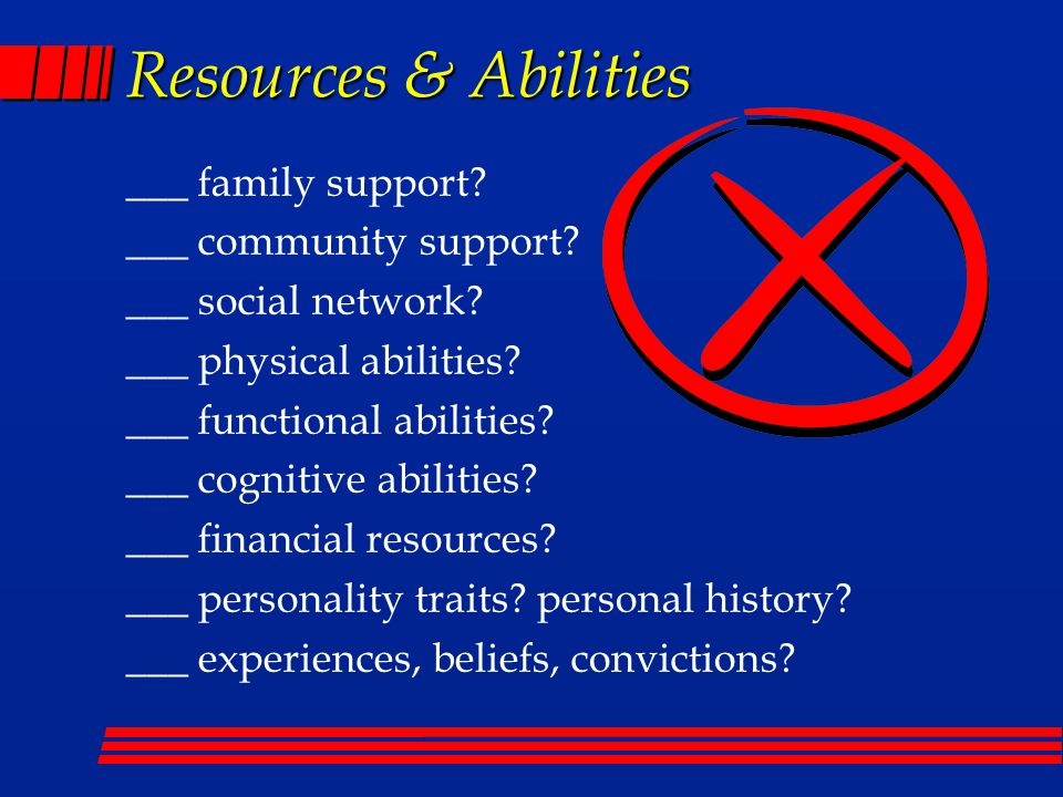 Resources & Abilities ___ family support. ___ community support.