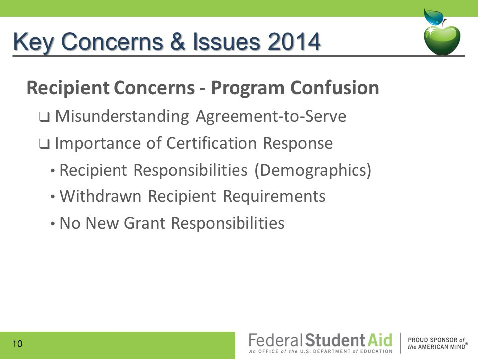Key Concerns & Issues 2014 Recipient Concerns - Program Confusion  Misunderstanding Agreement-to-Serve  Importance of Certification Response Recipie