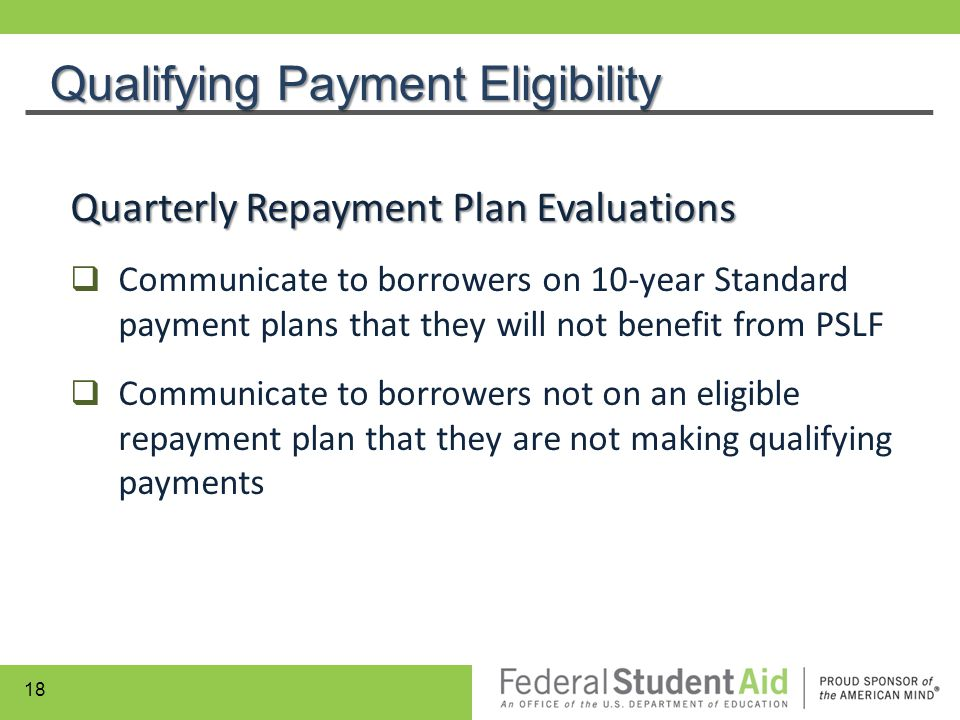 Quarterly Repayment Plan Evaluations  Communicate to borrowers on 10-year Standard payment plans that they will not benefit from PSLF  Communicate t
