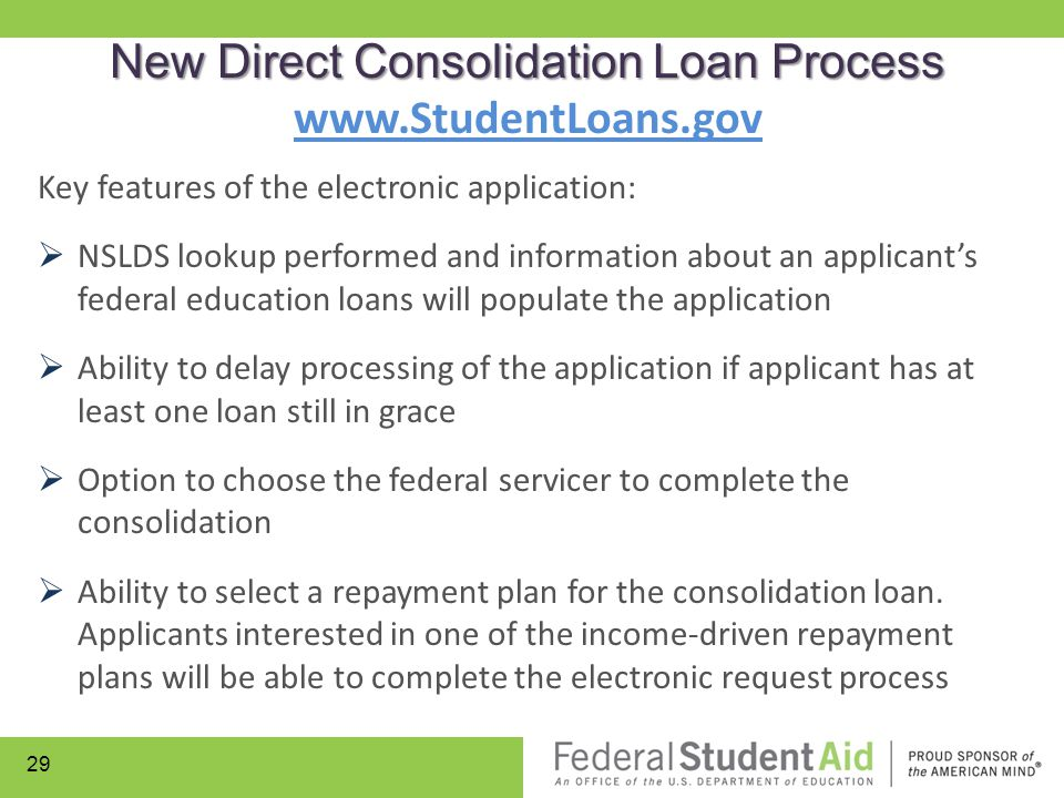 Key features of the electronic application:  NSLDS lookup performed and information about an applicant's federal education loans will populate the ap