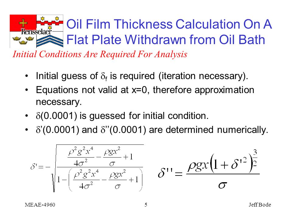 Oil Film Thickness Calculation On A Flat Plate Withdrawn from Oil Bath Jeff BodeMEAE-49605 Initial guess of  f is required (iteration necessary).