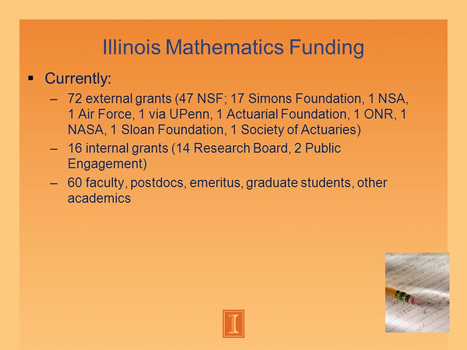 Illinois Mathematics Funding  Currently: –72 external grants (47 NSF; 17 Simons Foundation, 1 NSA, 1 Air Force, 1 via UPenn, 1 Actuarial Foundation, 1 ONR, 1 NASA, 1 Sloan Foundation, 1 Society of Actuaries) –16 internal grants (14 Research Board, 2 Public Engagement) –60 faculty, postdocs, emeritus, graduate students, other academics