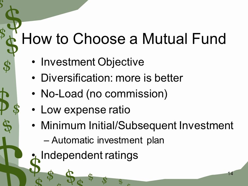 14 How to Choose a Mutual Fund Investment Objective Diversification: more is better No-Load (no commission) Low expense ratio Minimum Initial/Subsequent Investment –Automatic investment plan Independent ratings