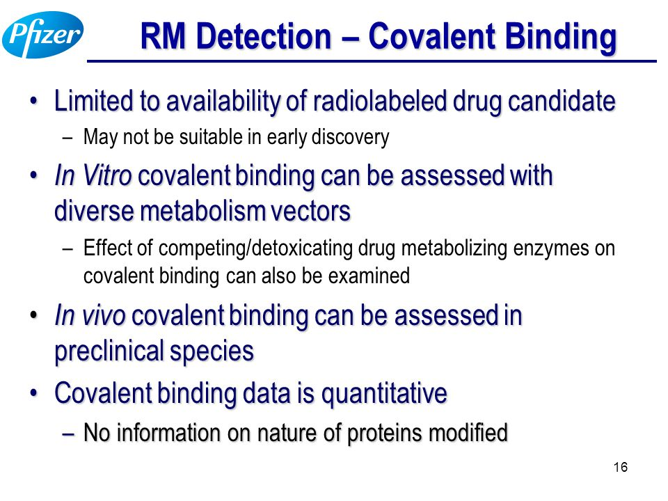 16 RM Detection – Covalent Binding Limited to availability of radiolabeled drug candidateLimited to availability of radiolabeled drug candidate –May n