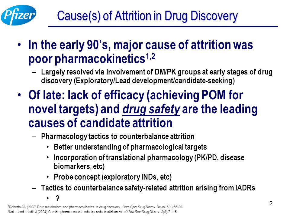 2 Cause(s) of Attrition in Drug Discovery In the early 90's, major cause of attrition was poor pharmacokinetics 1,2 – Largely resolved via involvement
