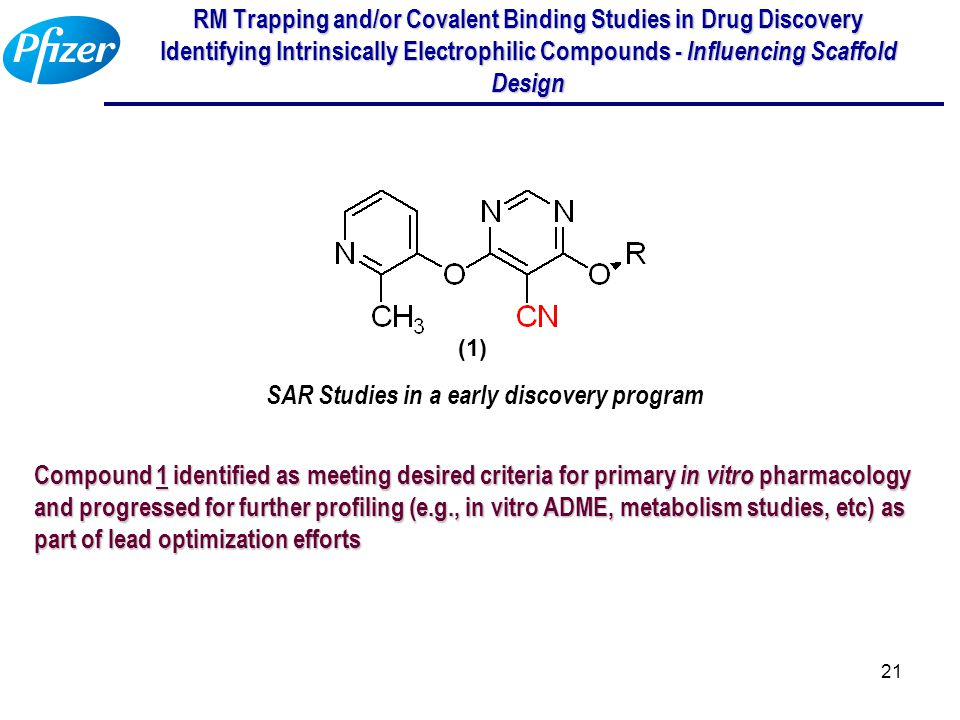 21 RM Trapping and/or Covalent Binding Studies in Drug Discovery Identifying Intrinsically Electrophilic Compounds - Influencing Scaffold Design SAR S