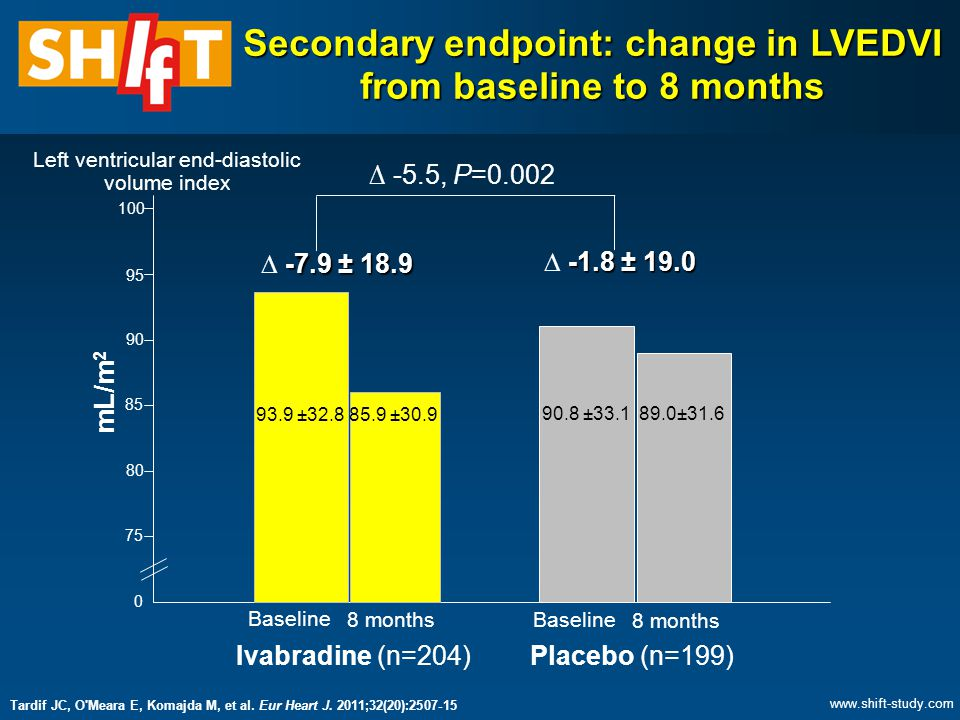Secondary endpoint: change in LVEDVI from baseline to 8 months 0 75 100 95 90 85 80 mL/m 2 93.9 ±32.885.9 ±30.9 90.8 ±33.189.0±31.6 -7.9 ± 18.9  -7.9