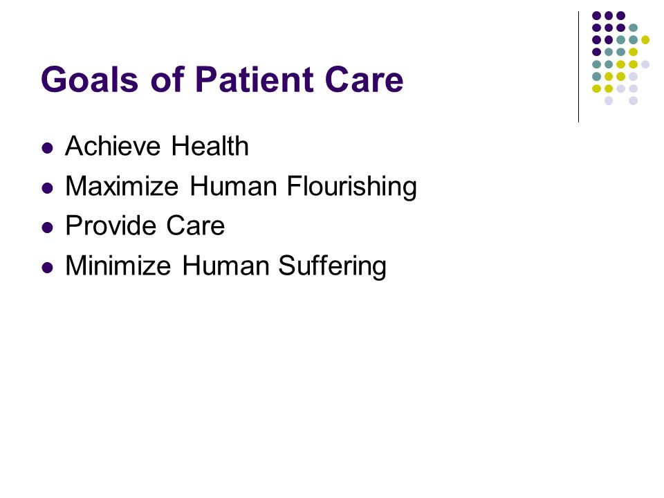 Goals of Patient Care Achieve Health Maximize Human Flourishing Provide Care Minimize Human Suffering