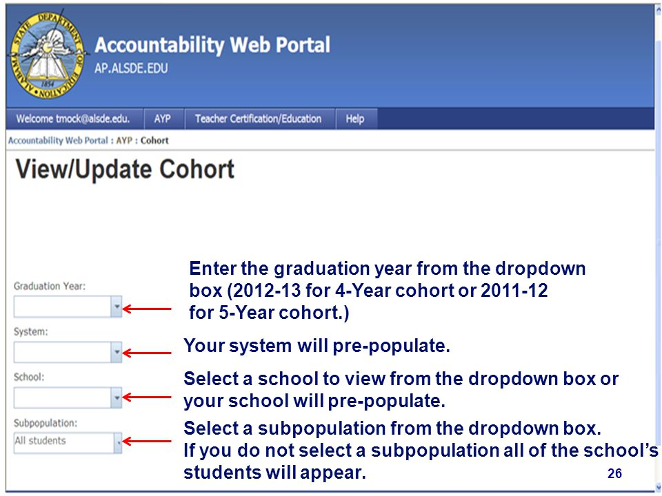 Enter the graduation year from the dropdown box (2012-13 for 4-Year cohort or 2011-12 for 5-Year cohort.) Select a school to view from the dropdown box or your school will pre-populate.