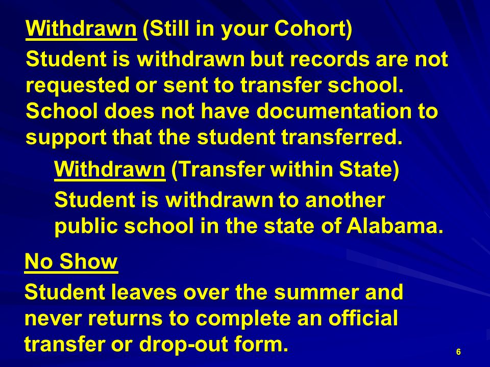 Withdrawn (Still in your Cohort) Student is withdrawn but records are not requested or sent to transfer school.