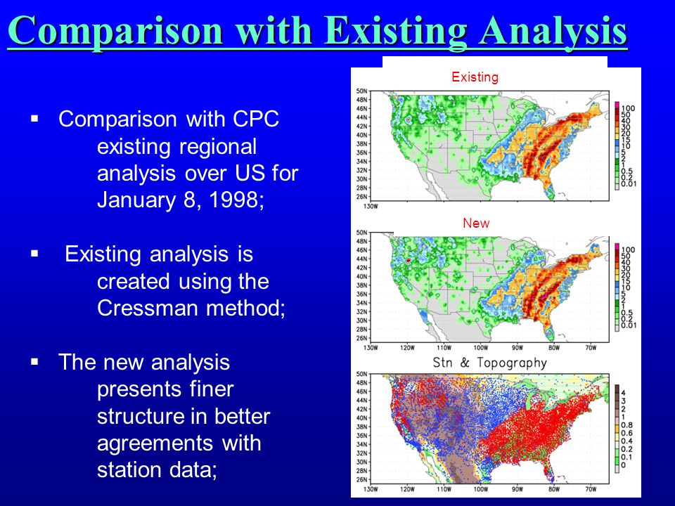 Comparison with Existing Analysis  Comparison with CPC existing regional analysis over US for January 8, 1998;  Existing analysis is created using t