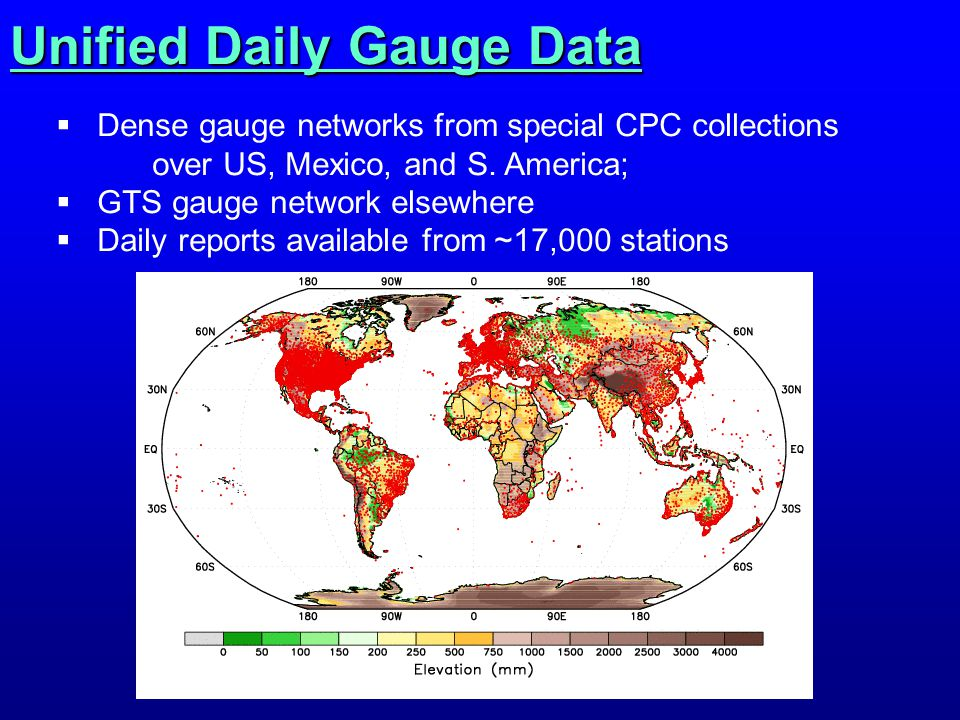 Unified Daily Gauge Data  Dense gauge networks from special CPC collections over US, Mexico, and S.