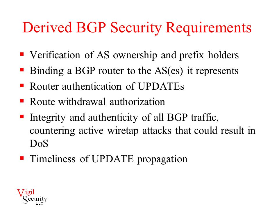 Derived BGP Security Requirements  Verification of AS ownership and prefix holders  Binding a BGP router to the AS(es) it represents  Router authentication of UPDATEs  Route withdrawal authorization  Integrity and authenticity of all BGP traffic, countering active wiretap attacks that could result in DoS  Timeliness of UPDATE propagation