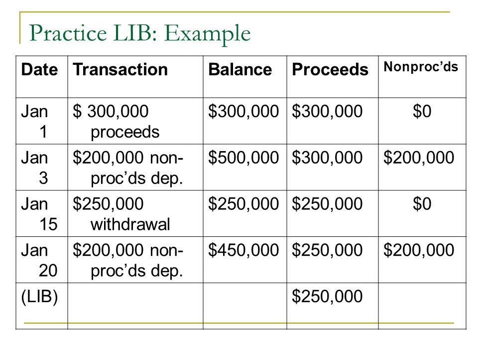 Practice LIB: Example DateTransactionBalanceProceeds Nonproc'ds Jan 1 $ 300,000 proceeds $300,000 $0 Jan 3 $200,000 non- proc'ds dep. $500,000$300,000