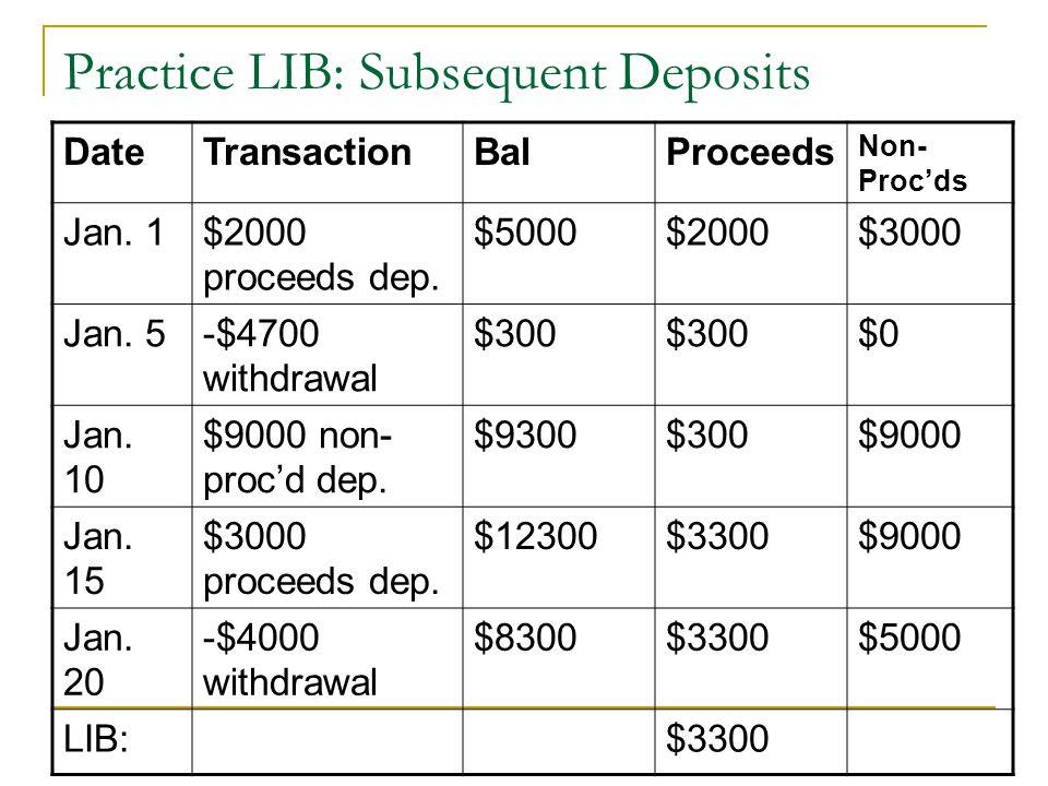 Practice LIB: Subsequent Deposits DateTransactionBalProceeds Non- Proc'ds Jan. 1$2000 proceeds dep. $5000$2000$3000 Jan. 5-$4700 withdrawal $300 $0 Ja