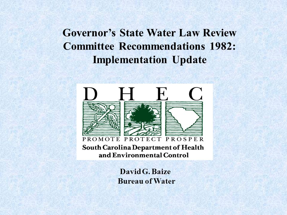 Governor's State Water Law Review Committee Recommendations 1982: Implementation Update David G.