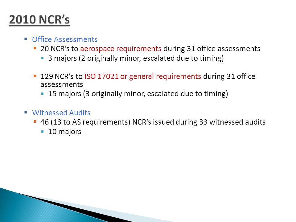 Office Assessments  20 NCR's to aerospace requirements during 31 office assessments  3 majors (2 originally minor, escalated due to timing)  129 NCR's to ISO or general requirements during 31 office assessments  15 majors (3 originally minor, escalated due to timing)  Witnessed Audits  46 (13 to AS requirements) NCR's issued during 33 witnessed audits  10 majors