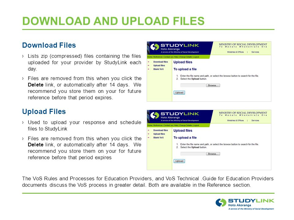 DOWNLOAD AND UPLOAD FILES Download Files ›Lists zip (compressed) files containing the files uploaded for your provider by StudyLink each day.