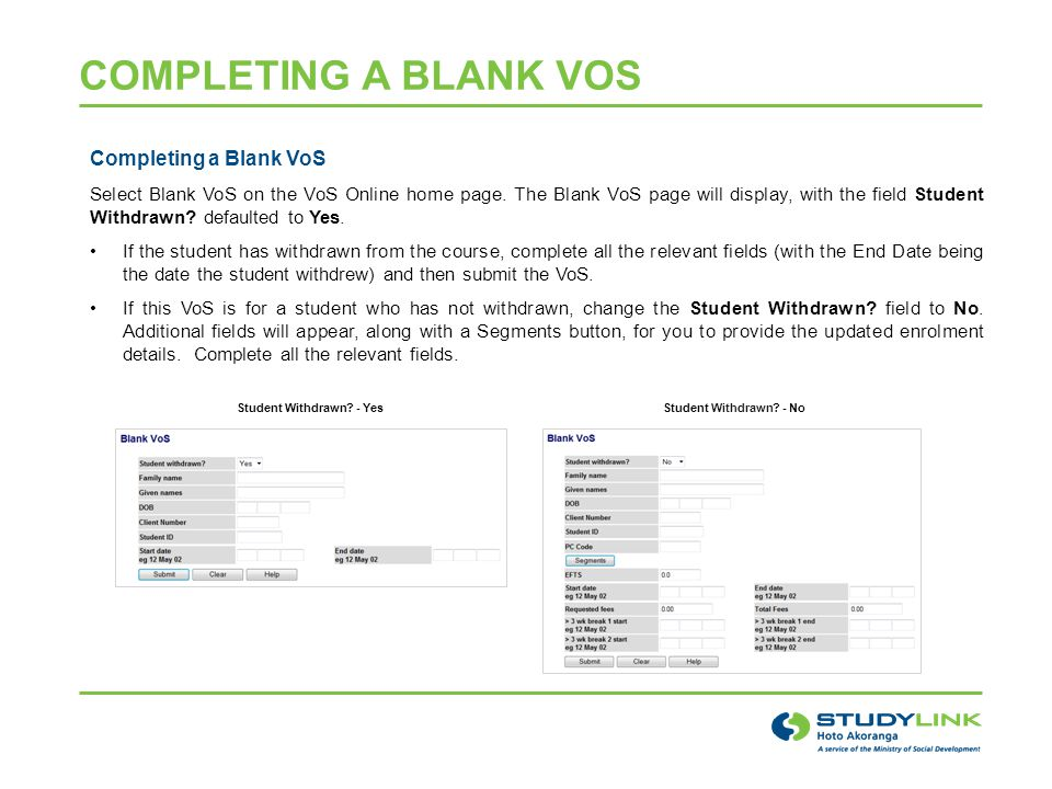 Completing a Blank VoS Select Blank VoS on the VoS Online home page.