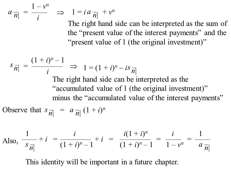 "a – n| s – n| 1 – v n = ——  i (1 + i) n – 1 = ————  i a – n| 1 = i + v n The right hand side can be interpreted as the sum of the ""present value of"