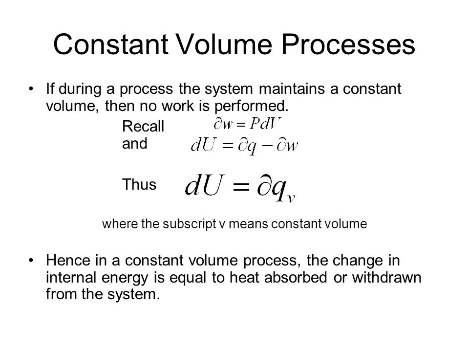 Constant Pressure Processes Again starting with the first law and the definition of work: Combining them and integrating gives where the subscript p means constant pressure Solving for q p and rearranging a little gives