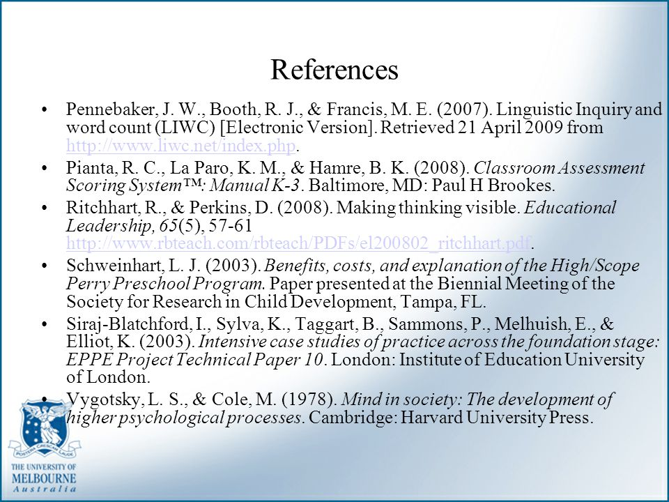 References Pennebaker, J. W., Booth, R. J., & Francis, M. E. (2007). Linguistic Inquiry and word count (LIWC) [Electronic Version]. Retrieved 21 April