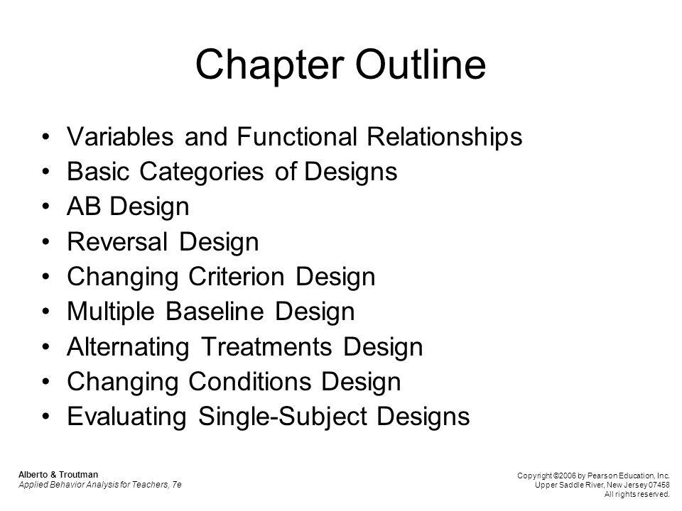 Chapter Outline Variables and Functional Relationships Basic Categories of Designs AB Design Reversal Design Changing Criterion Design Multiple Baseli