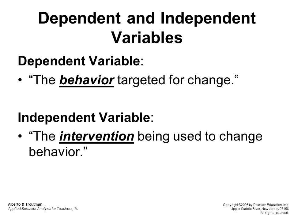 Multiple Baseline: Advantages and Disadvantages Use this design: When withdrawal designs are not feasible due to ethical concerns When there is more than one target behavior, setting, or individual in need of treatment When the effects of the independent variable cannot be withdrawn or reversed Alberto & Troutman Applied Behavior Analysis for Teachers, 7e Copyright ©2006 by Pearson Education, Inc.