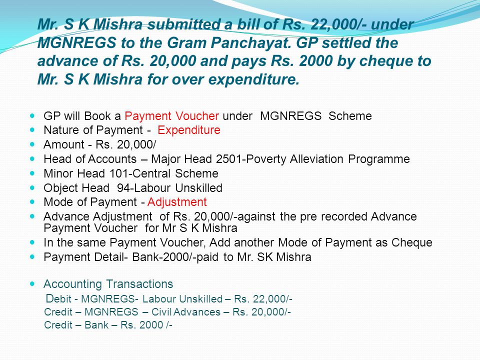 GP will Book a Payment Voucher under MGNREGS Scheme Nature of Payment - Expenditure Amount - Rs. 20,000/ Head of Accounts – Major Head 2501-Poverty Al