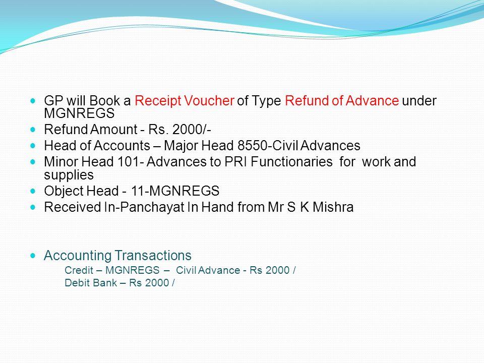 GP will Book a Receipt Voucher of Type Refund of Advance under MGNREGS Refund Amount - Rs. 2000/- Head of Accounts – Major Head 8550-Civil Advances Mi