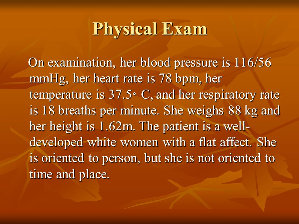Pyhsical & Neuro Exam Mini Mental Status Examination gives a score of 18 out of 30.