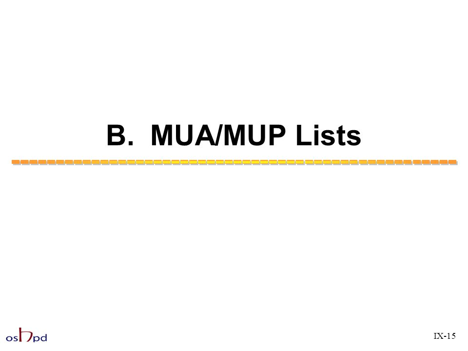 B. MUA/MUP Lists IX-15