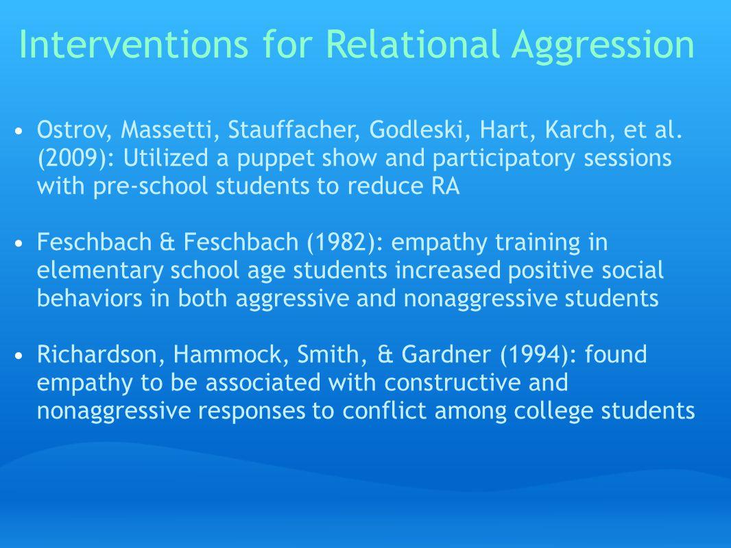 Interventions for Relational Aggression Ostrov, Massetti, Stauffacher, Godleski, Hart, Karch, et al.