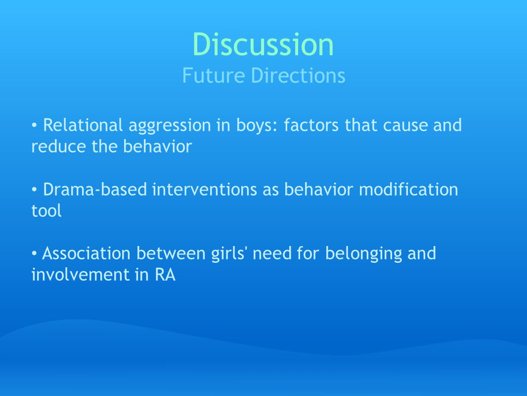Discussion Future Directions Relational aggression in boys: factors that cause and reduce the behavior Drama-based interventions as behavior modification tool Association between girls need for belonging and involvement in RA