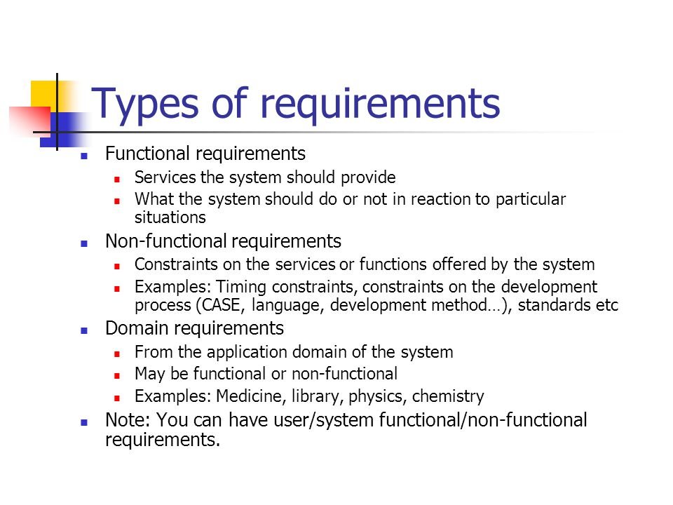 Types of requirements Functional requirements Services the system should provide What the system should do or not in reaction to particular situations Non-functional requirements Constraints on the services or functions offered by the system Examples: Timing constraints, constraints on the development process (CASE, language, development method…), standards etc Domain requirements From the application domain of the system May be functional or non-functional Examples: Medicine, library, physics, chemistry Note: You can have user/system functional/non-functional requirements.