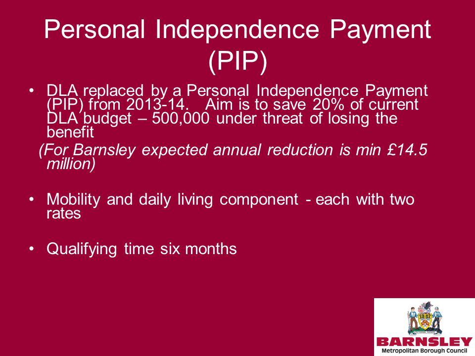 Personal Independence Payment (PIP) DLA replaced by a Personal Independence Payment (PIP) from 2013-14.