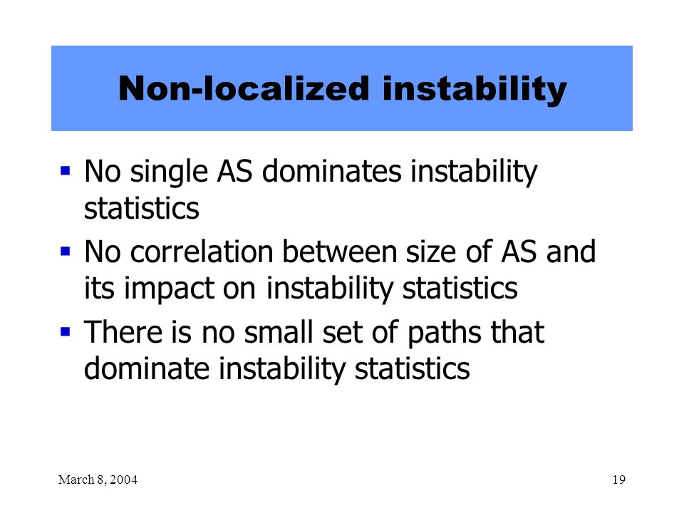March 8, 200419 Non-localized instability  No single AS dominates instability statistics  No correlation between size of AS and its impact on instab