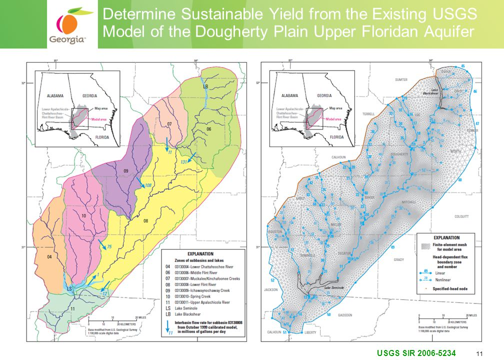 11 Determine Sustainable Yield from the Existing USGS Model of the Dougherty Plain Upper Floridan Aquifer USGS SIR 2006-5234
