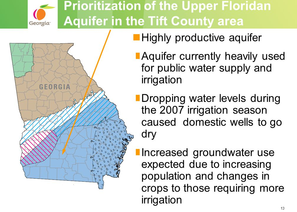 13 Highly productive aquifer Aquifer currently heavily used for public water supply and irrigation Dropping water levels during the 2007 irrigation season caused domestic wells to go dry Increased groundwater use expected due to increasing population and changes in crops to those requiring more irrigation Prioritization of the Upper Floridan Aquifer in the Tift County area