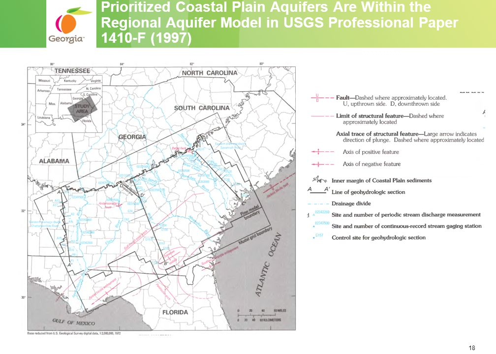 18 Prioritized Coastal Plain Aquifers Are Within the Regional Aquifer Model in USGS Professional Paper 1410-F (1997)